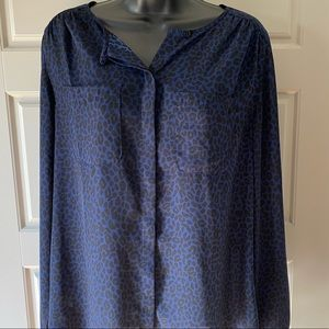 LOFT blue and black leopard blouse